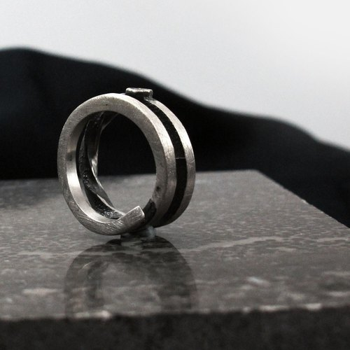 Silver Ring edge. The angle G 925 Silver Ring -64DESIGN