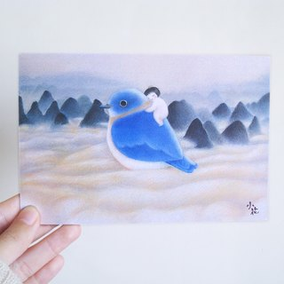 Cute blue bird illustration card postcard