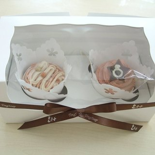 Cup cake soap into the gift box (attached bag)