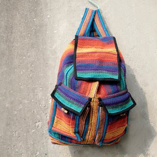 Valentine's Day gift knit feel after national wind backpack / shoulder bag / travel backpacks - gradient line - in