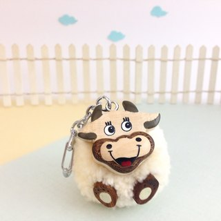 Handmade wooden [x] ♦ Miss Hu Xu Peng Peng yarn cow key ring / Charm