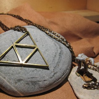 Triangle 2 / handmade brass necklace (long train)
