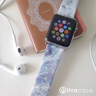 Apple Watch Series 1, Series 2 and Series 3  - Faux Grey Marble Pattern Printed on Genuine Leather for Apple Watch Strap Band 38 / 42 mm - 2