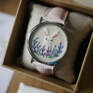 Forest Department of Zoology - Free child embroidered lavender leather watch / Accessories