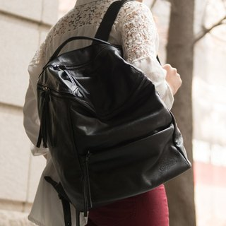 On the road _ LaPoche Secrete: The brave backpack of the girl _ water dyed cowhide