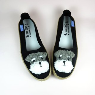 Black cotton canvas hand-made shoes Schnauzer (with weaving)