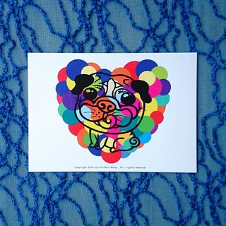 Postcard-Colorful Pug