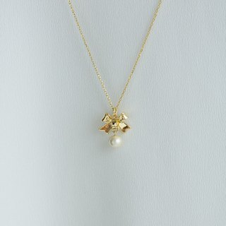 [ Bow cotton pearl necklace  ]