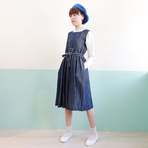 Eleven girl home design locker square collar denim dress blue decorative edge