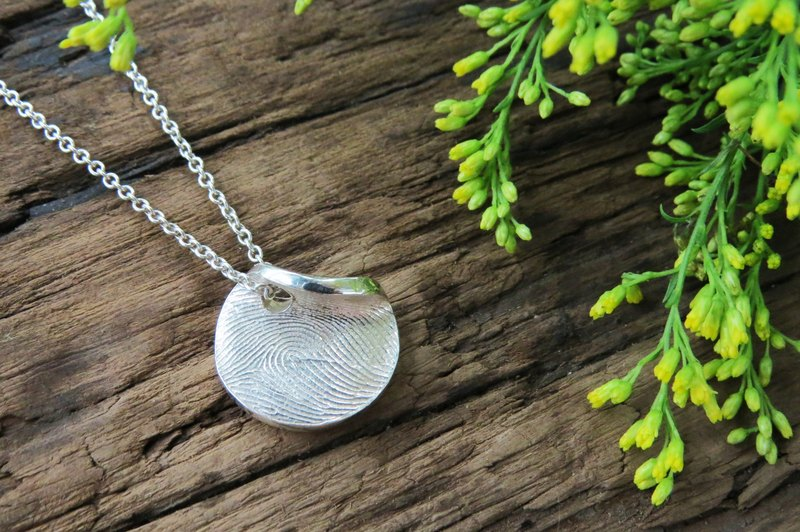 Fingerprint Imprint Series / Fingerprint Disc Turning Pendant (Small) / 925 Silver / Customized
