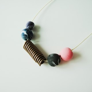 Marble Necklace with pink, black and blue