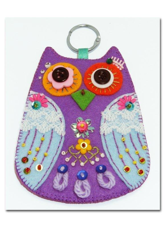 Owl Card Case - Purple Light Blue