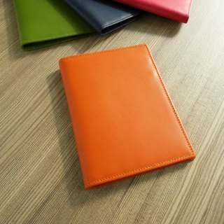 Colorful series - leather passport holder / dazzling orange