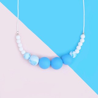 Blue clouds Fimo Pearl Necklace