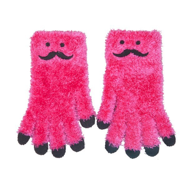 Touch Gloves - hairy little man - bearded money - pink