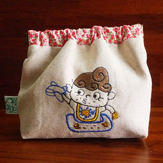 QMO doll embroidery shrapnel gold deposit bag wallet (can be embroidered in English name please note)