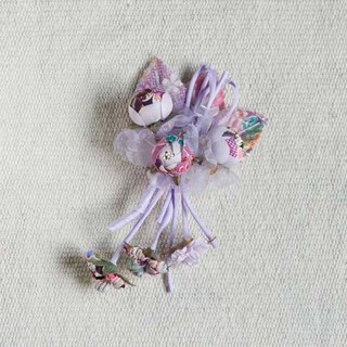 [MITHX] Fu Ying, three shell Jin, a small side clip brooch, styling hair accessories - Purple