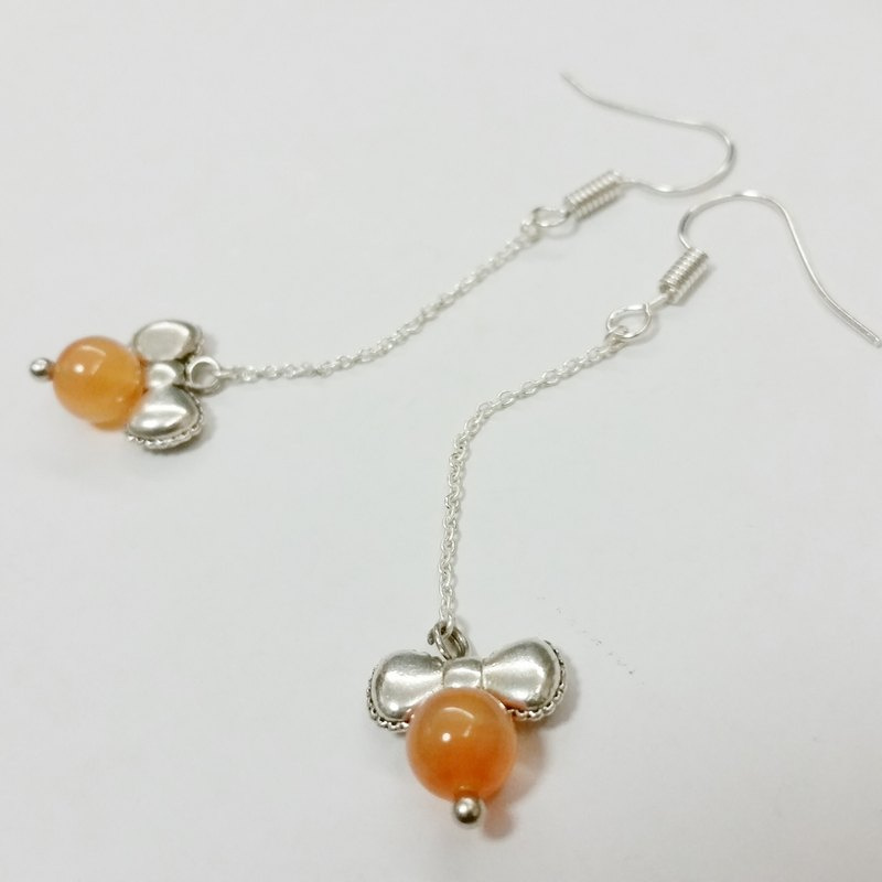 silver-plated earling with Agate agate long earrings