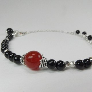 Power - natural black tourmaline + red agate 925 sterling silver anklet. Hong Kong original design