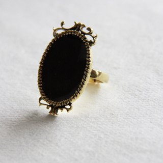Plain Black Oval Ring Antique Style Jewelry / Adjustable Ring / Girl Woman Accessories
