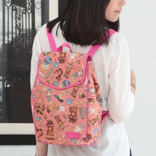 Jacquard weave Videos dual leather backpacks happy circus