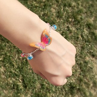 * Haku‧Neko * Luminous orange pattern pink blue hand painted butterfly bright glass ball bracelet