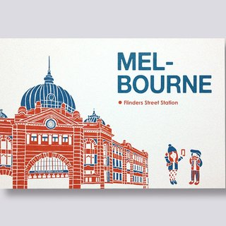 ittle ship Travel Illustration Postcard Melbourne Series │Flinders Street Station