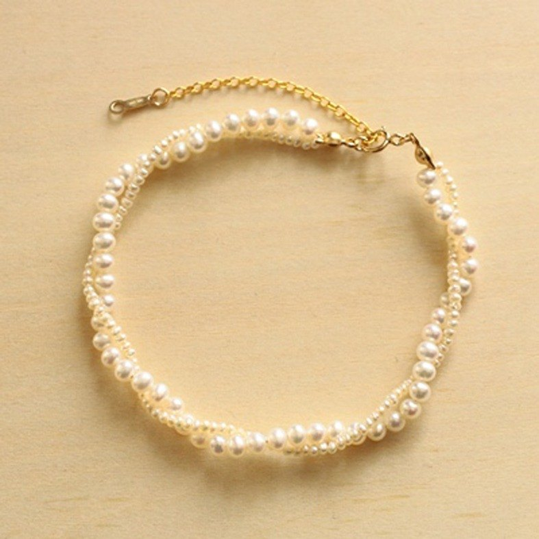 Bracelet-Bracelet with a beautiful twist of freshwater pearls and 14KGF large and small pearls-Grace R01