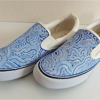 Hand Drawing Shoes/Front Drawing/White&Blue