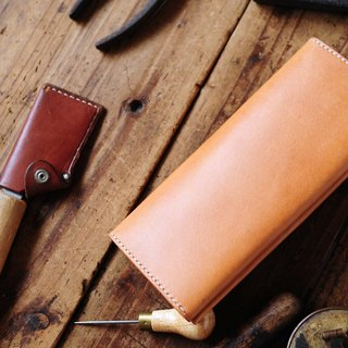 Hand Stitched Dark Green Leather Long Wallet