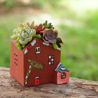 [Garden Castle Garden] Pottery Handmade - Super Cute Giraffe Garden (S) / Rock Red / Ceramic Castle / Order Order