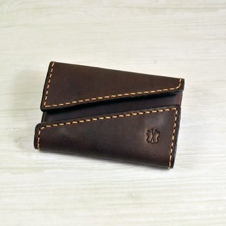 MICO hand-sewn leather card case double open design (coke tea)