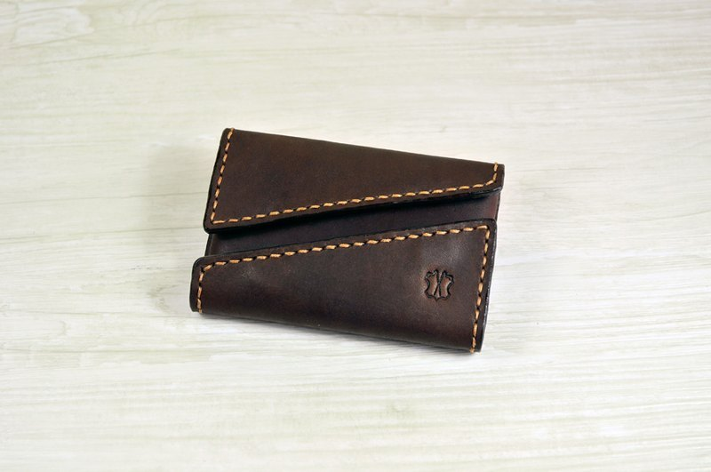 MICO 手縫皮革咭片盒 雙開口設計 (焦茶)