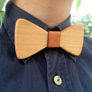 Natural Log Bow Tie + Bow Tie Necklace - Beech Wood - (Gift / Wedding / Newcomer / Valentine's Day)