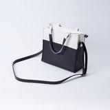 紙袋造型拼色包 手提肩背兩用 白X黑