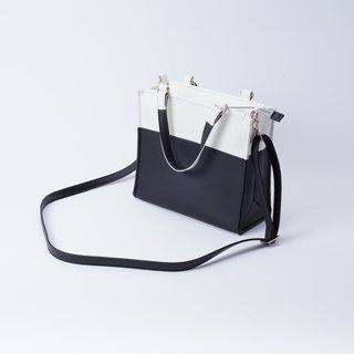 Paper bag shape color matching bag portable shoulder dual-use white X black