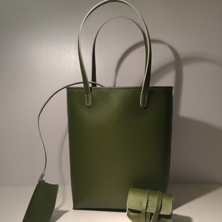 Zemoneni leather tote bag in Oliver green color with coin bag key chain 3 in 1