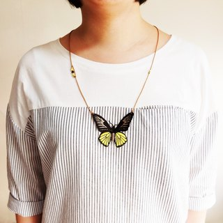 Embroidery Butterfly Necklace / Magellan Birdwing Butterfly