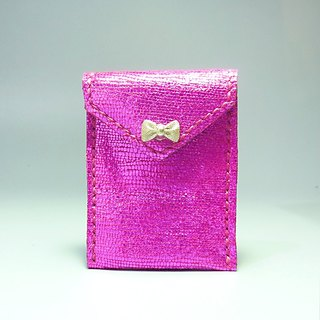 [Mania] ANITA hand-made limited edition handmade leather ‧ brightly colored pink texture x Bow Wallets / purse - Specials