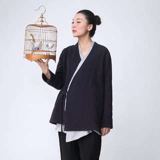 BUFU  zen-style cardigan with blue cloth  O141203