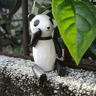_ Wooden animal series of small things: Good afternoon panda love to dance _ joints can swing