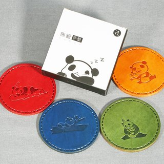 FL Brand / panda family coaster round leather Product Code: CP-3