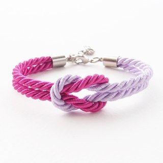 Fuchsia and Lavender rope knot bracelet