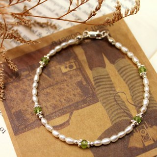 Journal (White Sea logs) - Green aroma / silver hand-made, natural pearl bracelet peridot bracelet