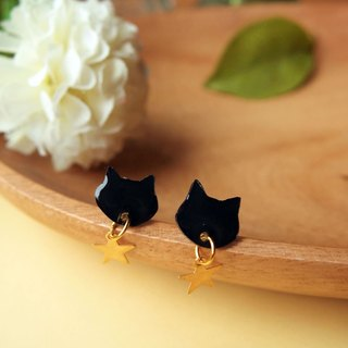 Meow - star and black cat earrings