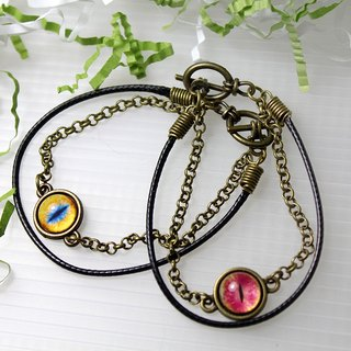 Cat EYE 10mm mini wax rope + circle chain multi-layer bracelet