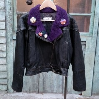 Italy - psychedelic rock purple fur collar jacket short version of the heavy machinery