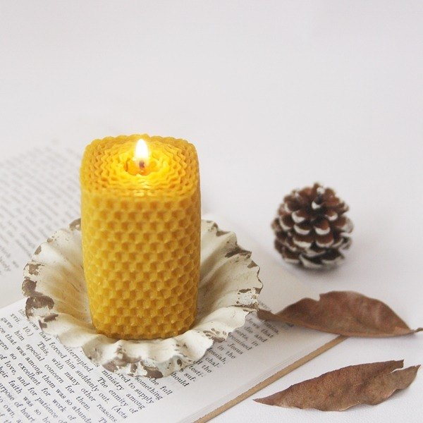 4th Floor Apartment - Felt Oil Beeswax Candle - Small Square Roll