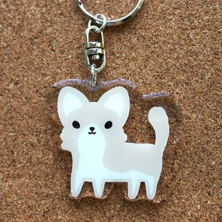 "PuppyLove early heart illustration [dog] Acrylic Charm Key Chains ""Longhaired Chihuahua"""