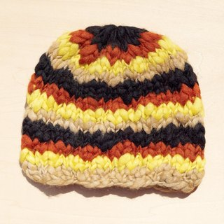 Christmas hand made of pure wool hat / knitted caps / thick knitting caps / wool cap (made in nepal) - Sunset